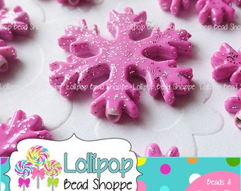 PINK Glitter SNOWFLAKE Beads 32mm Chunky Beads Christmas Winter Frozen 4-ct Snowflakes Acrylic Bead Bubble Gum Beads Bubblegum Bead Necklace