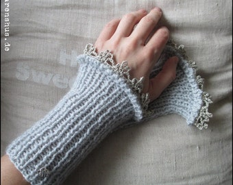 handknitted wristwarmer , Acrylic, light grey