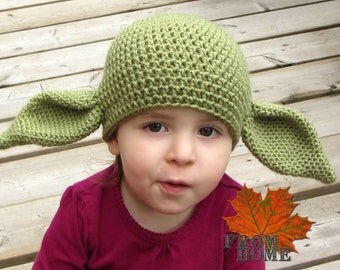 Yoda / Dobby the House Elf Crochet Hat - Baby, Toddler, Child, Adult - Costume, Character, Sci-Fi