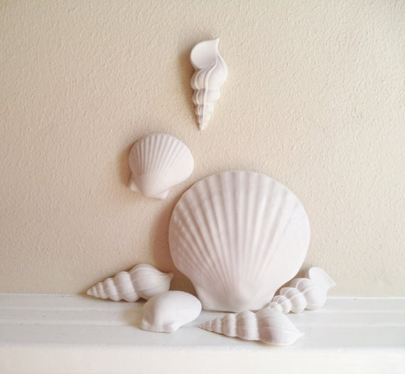 Seashell decor, wall hanging shells, beach decor, coastal, nautical shell sculptures