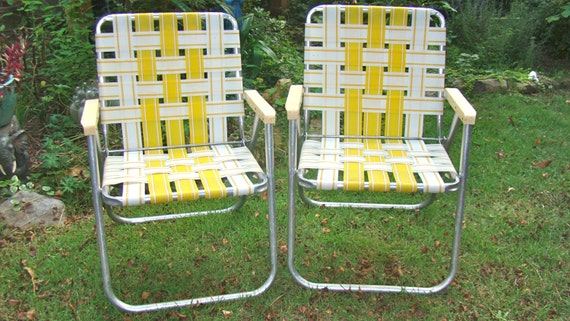 Aluminum Lawn Chairs Folding Webbed RV Matching Pair Yellow