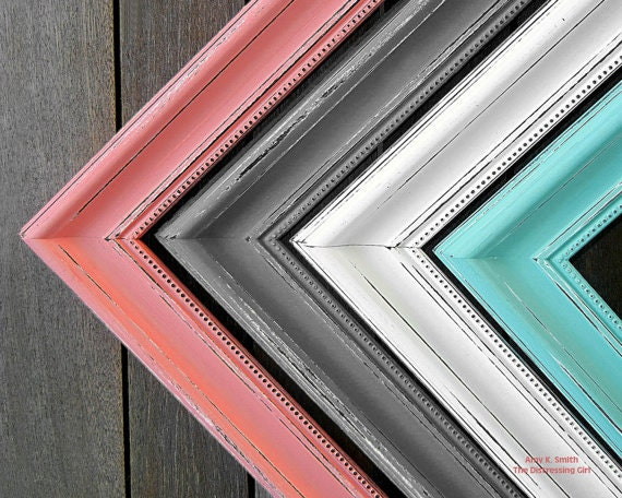 wedding 12x18 2 thick picture frame shabby chic you pick the color mint coral