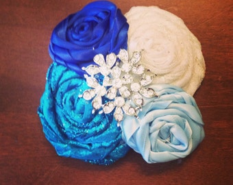 Turquoise blue baby blue white rosettes baby bow