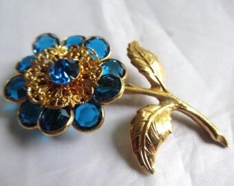 Blue Glass Flower Brooch 1960s Vintage Jewelry