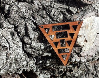 Triangle Necklace // Wood Triangle Necklace // Cutout Necklace | MULTI TRI NECKLACE