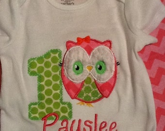 Custom Appliqued Monogrammed Mod Owl Birthday Onesie
