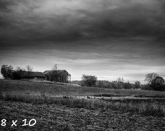 Black & White Photography - Rural Decay 1 - fine art print, wall photo, home decor, monochrome, grey gray, farm, barn, field, country