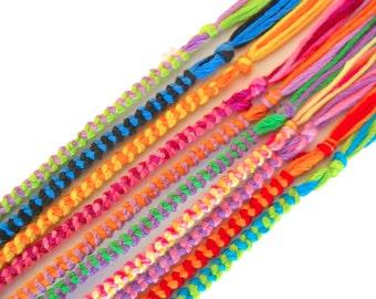 10 Friendship Bracelets - Assorted Colors - Bulk Wholesale Woven Bracelet