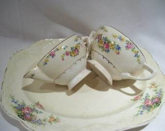 3 Piece Platter, Sugar and Creamer Floral Pattern,Shabby Chic, Mismatched