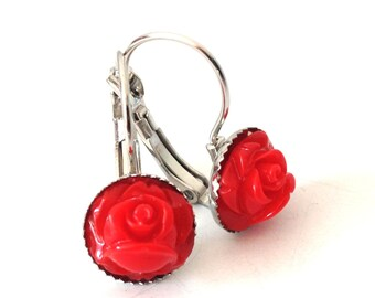 Red Rose - romantic earrings