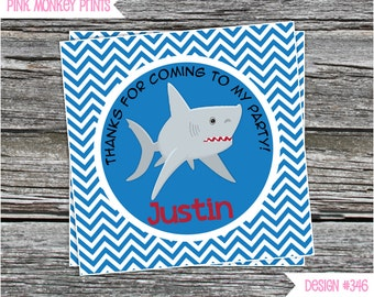 DIY - Shark Birthday Party Favor Tags- Coordinating Items Available