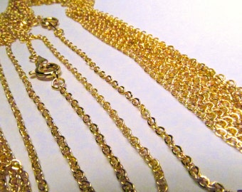 50 & 100 Pcs Gold Plated Cable Link 18 Inch Chain Lot Wholesale Necklace Bulk