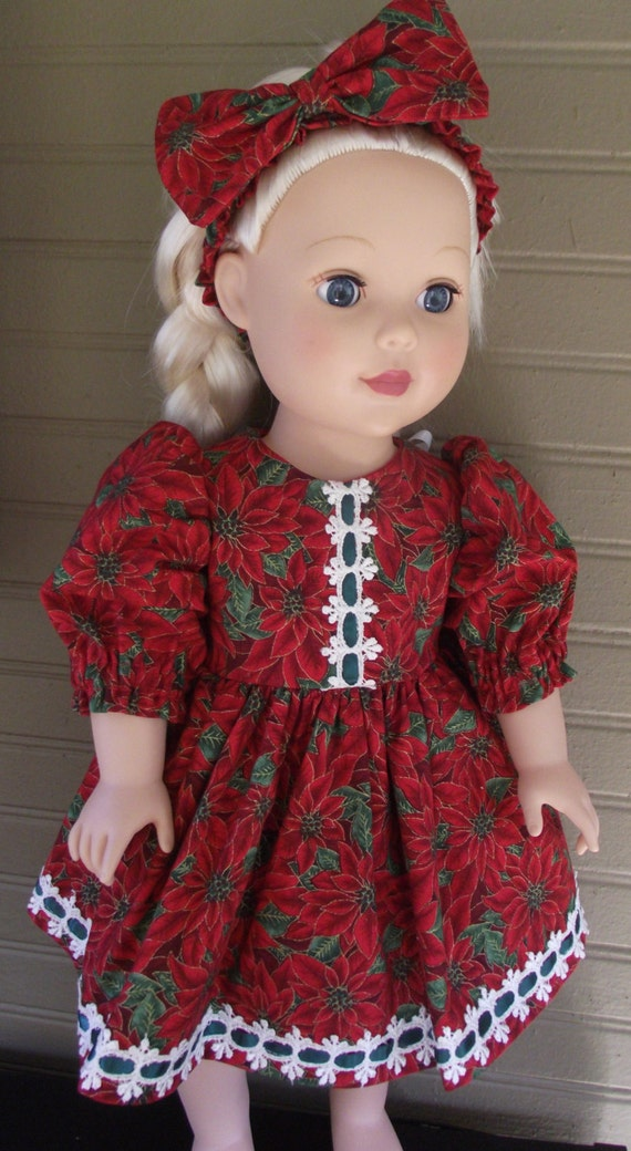 "Handmade Christmas Dress for Dolls 16 to 18"" tall... comes with matching Headband"
