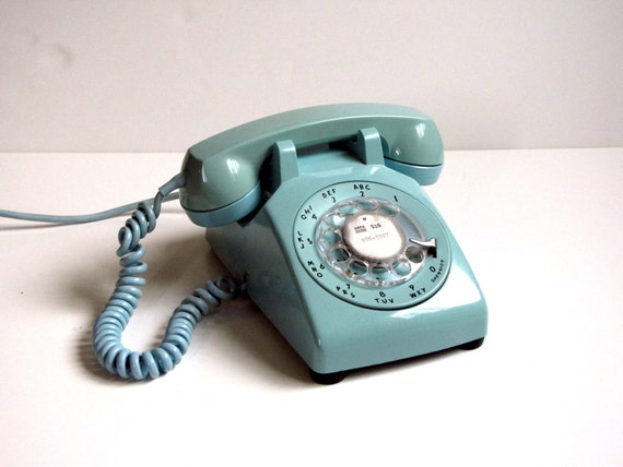 Vintage Turquoise Bell Rotary Telephone