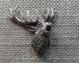 pewter silver stag deer head with antlers brooch pin
