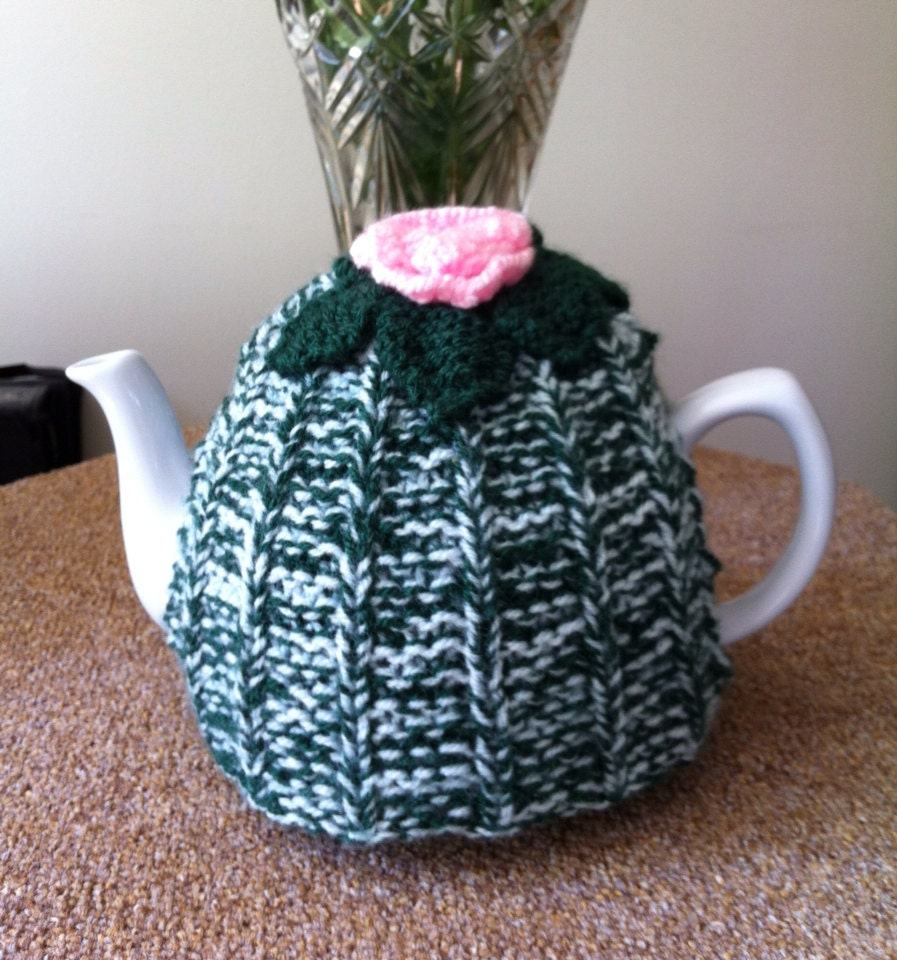 Knitted Rose Tea Cosy teapot cover handmade tea cosy