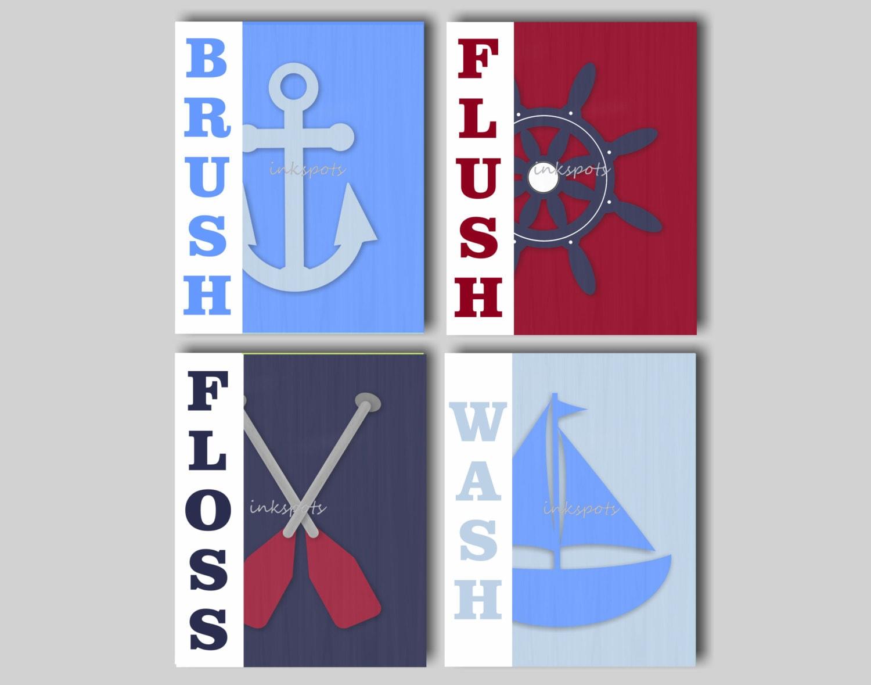 Items Similar To Kids Bathroom Prints Nautical Kids Bath