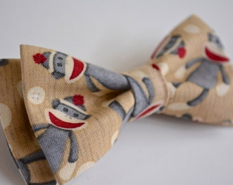 Sock Monkey Bow Tie for kids, Clip on Bow Tie, Kids Clip on bow tie, Bow tie clips, Bow Tie for babys