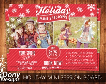 Holiday Mini Session Template Photography Marketing board - Photoshop template Instant Download - BUY 1 GET 1 FREE: ms-430