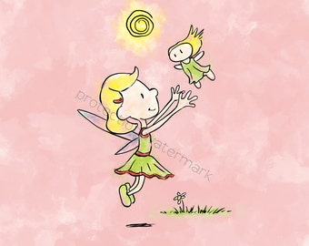 Fairy (playtime) Art Print for Children's Room/ Nursery...8x10