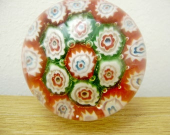 Millefiori Paper Weight,Paper weight,Glass Paperweight,Round Paperweight,Vintage Paperweight,Millefiori,Collector of Paperweights