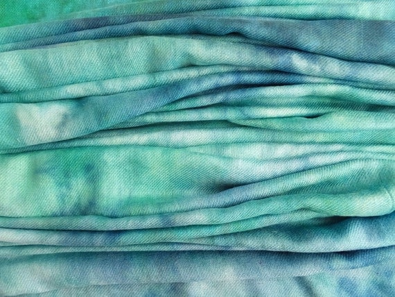 Blue green teal turquoise scarf - winter scarf - rayon scarf - fringe scarf - warm scarf - rayon challis twill -blue, green, teal, turquoise