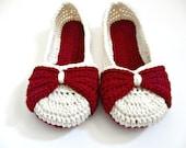 Women's Bow Slippers - Crocheted Ballet Flats - Custom Made - Crochet shoes - Red White - Christmas slippers
