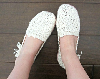 Women's Loafers - Ivory and Orchid Pink - Wedding Slippers - Crochet Loafers - Crochet Slippers - White