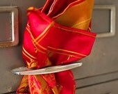 Elegant Red & Gold Fan and Floral Edwardian Silk Pocket Square by Put This On W2014