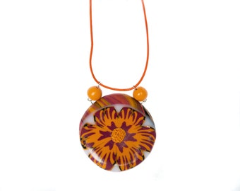Polymer clay necklace Flower necklace Round necklace Orange necklace beaded necklace bordeaux necklace Casual Summer necklace One of a kind