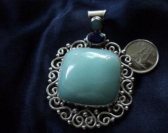 Suarti Ba Chalcedony, Sapphire & Swirls 36g Vintage Sterling Silver Pendant
