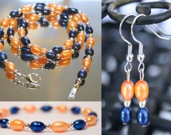 Orange Navy Pearl Jewelry Edmonton Oilers Jewelry New York Islanders Jewelry