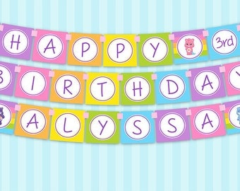 Printable DIY Care Bears Theme Personalized Happy Birthday Banner