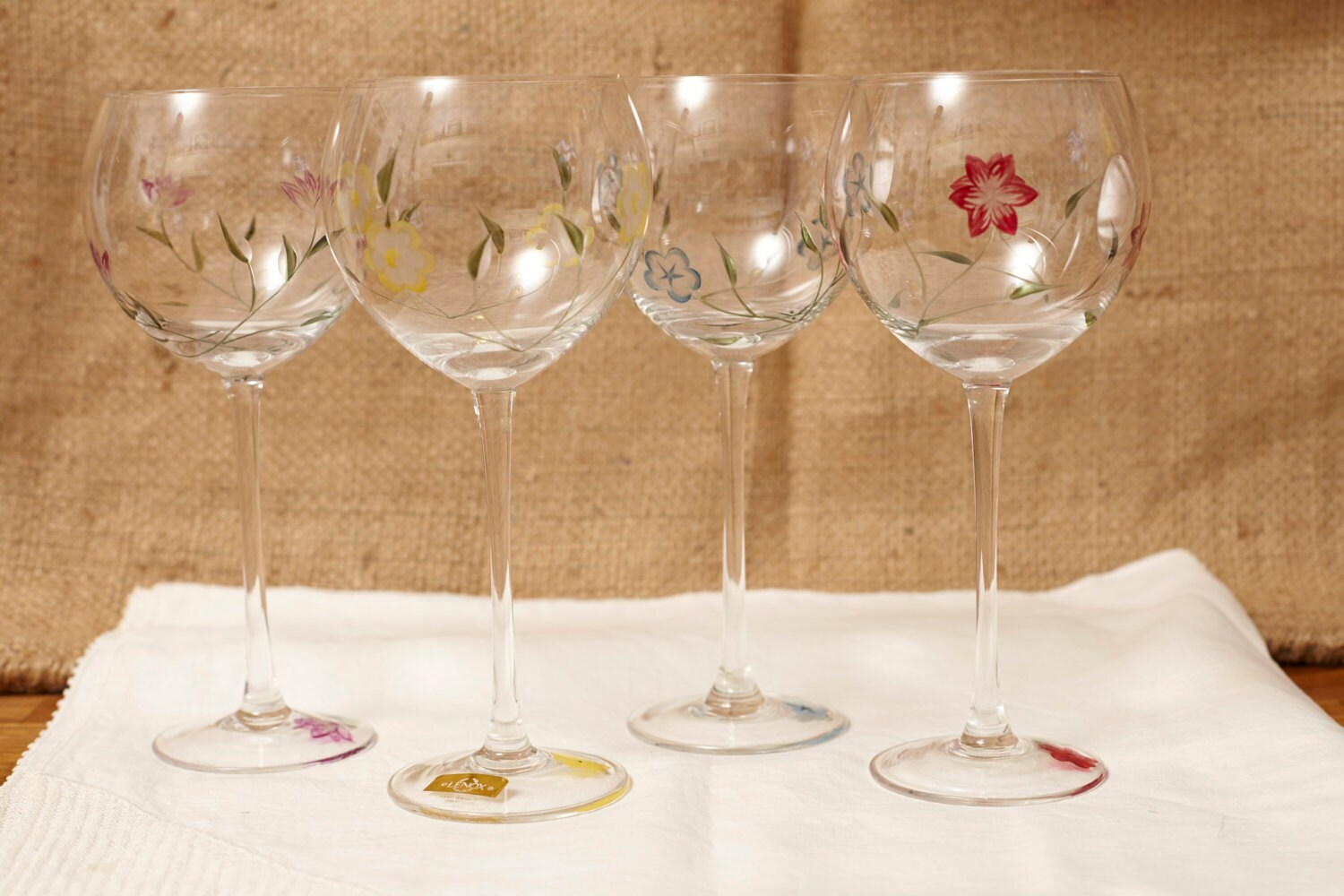 Lenox Cut Crystal Floral Spirit Balloon Wine Glass Set Hand