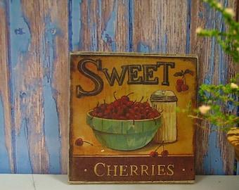 """Miniature Wooden Plaque """"Sweet Cherries"""""""