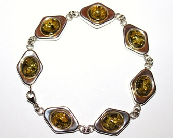 sterling silver bracelet with natural Baltic amber