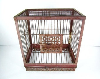 Vintage birdcage,shabby chic,metal birdcage,wedding decor, cottage decor, wire birdcage,antique,rust,red,