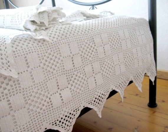 Handmade crochet lace trim unique crochet curtains white - Manteles shabby chic ...