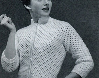 "Instant 14 to 18 CUTE SHORTIE CARDIGAN Knitting Pdf Pattern (3 sizes 32-36"") Kimono Sleeves Mandarin Collar - Instant Download Kenyon 0032"