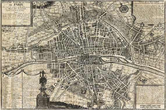 Old Paris Map Restoration Hardware Style map Of Paris historic old world Map Street map of Paris France circa 1705 wall map large Paris map