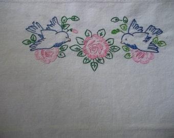 Fabric Vintage Birds and flowers piecework