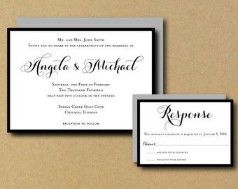 Printable Custom DIY Wedding Invitation - Romantic Chic Calligraphy Edge