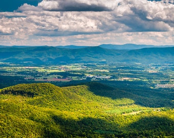 Shenandoah Valley and Appalachian Mountains from Great North Mountain, Virginia -Landscape Photography Fine Art Print or Wrapped Canvas