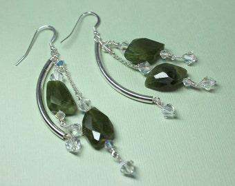 Green Garnet Earrings, Sterling Silver Garnet Dangles, Green Gemstone, Sterling Silver Garnets, January Birthstone