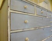 Antique Shabby Chic Cottage Chic Dresser Bureau Painted in Louis Blue and Old White