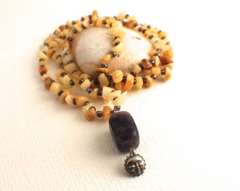 Upcycled Stone, Glass and Amethyst Mala