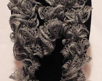 Sparkly Gray Crochet Ruffle Scarf