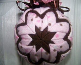 Pink And Brown Polka Dots quilted ornament/Great for a young lady