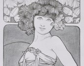 Original pencil drawing, pencil master copy, Mucha portrait, whimsical female figure, copy after Mucha, reproduction, black and white art.
