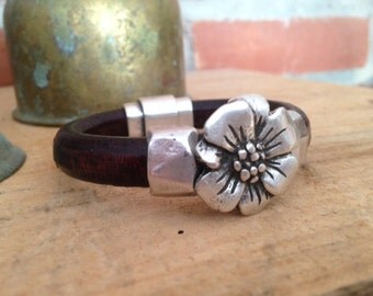 Grecian Leather Bracelet in Distressed Dark Brown with Antiqued Flower - Handmade